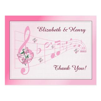 Süße Erbsen u. Musik-Hochzeit danken Ihnen zu Postkarte