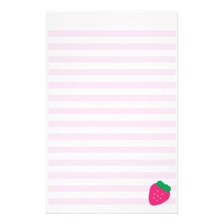 Süße Erdbeergestreiftes Briefpapier