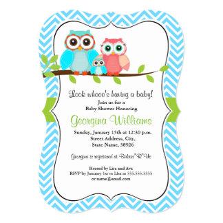 Süße Eulen-Babyparty-Einladung/blaues Grün