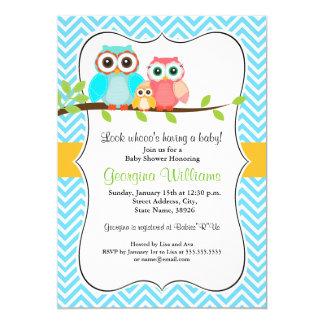 Süße Eulen-Babyparty-Einladung/Junge 12,7 X 17,8 Cm Einladungskarte