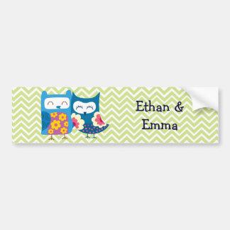 Süße Eulen-Liebhaber-Paare auf Zickzack Autoaufkleber