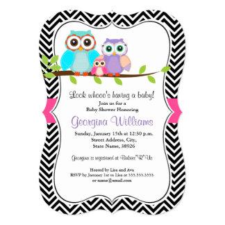 Süße Eulen-Mädchen-Babyparty-Einladung