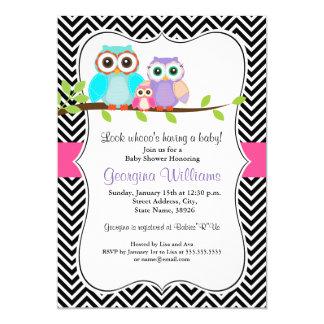 Süße Eulen-Mädchen-Babyparty laden ein 12,7 X 17,8 Cm Einladungskarte