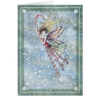 Süße feenhafte Zuckerstange-Weihnachtskarte Grußkarte