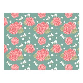 Süße Gartennelken-Blumen-nahtloses Muster Postkarte