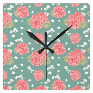 Süße Gartennelken-Blumen-nahtloses Muster Quadratische Wanduhr