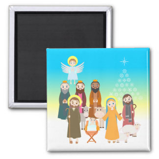 Süße Geburt Christis-Szene für Kinder Quadratischer Magnet