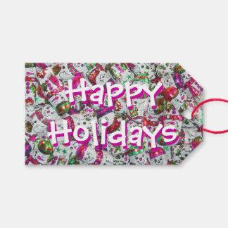 Süße Geschenkumbauten des Schneemann-Rosas frohe Geschenkanhänger