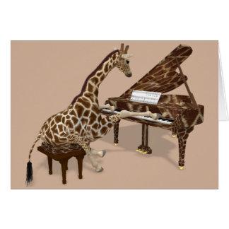 Süße Giraffe, die Klavier spielt Grußkarte