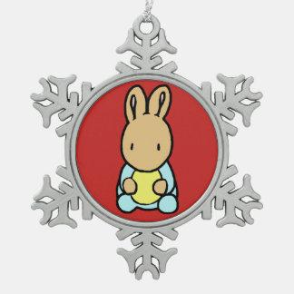 Süße Häschen-Zinn-Schneeflocke-Verzierung Schneeflocken Zinn-Ornament
