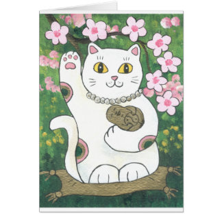 Süße Kirschblüte Neko Karte