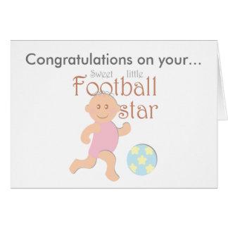 Süße kleine Fußball sta Babygeburts-Grußkarte Karte