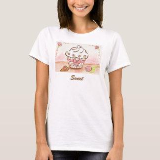 Süße Kuchen-Rosen-Herz-T - Shirt-Spitze T-Shirt