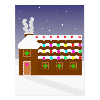 Süße Lebkuchen-Haus ~ Winter-Szene Postkarte
