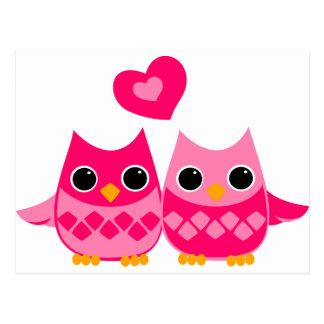 Süße Liebe-Eulen Postkarte