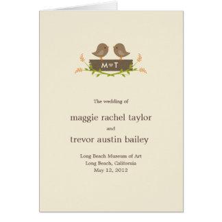 Süße Liebe-Wedding Programm-Karte Karte