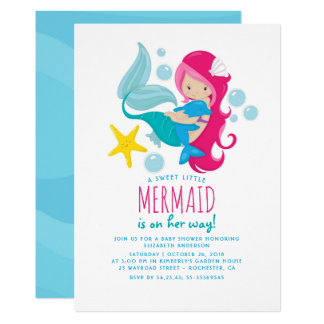 Süße Meerjungfrau-Babyparty 12,7 X 17,8 Cm Einladungskarte