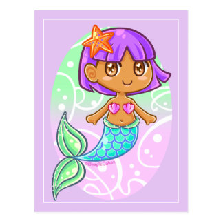 Süße Meerjungfrau-Mädchen-Postkarte Postkarte
