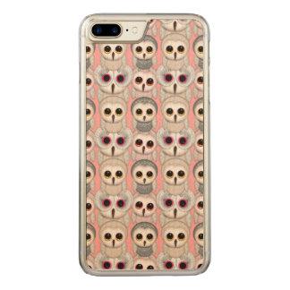 Süße Owlets-Baby-Eulen auf blassem - rosa Muster Carved iPhone 8 Plus/7 Plus Hülle