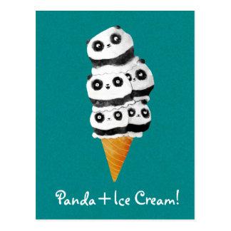 Süße Panda-Bärn-Eistüte Postkarte