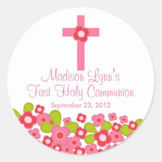 Süße quere rosa Blumenerste heilige Kommunion Runder Sticker