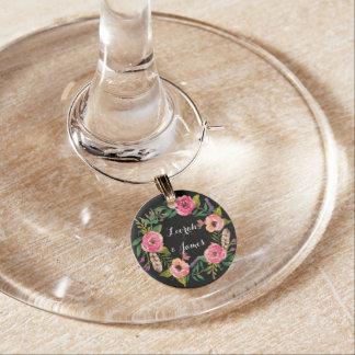 Süße romantische Watercolor-Blumen Weinglas Anhänger