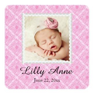 Süße rosa Damast-Baby-Geburts-Mitteilung Quadratische 13,3 Cm Einladungskarte