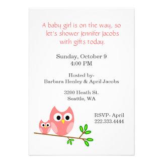 Süße rosa Eulen-Babyparty-Einladung