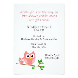 Süße rosa Eulen-Babyparty-Einladung 12,7 X 17,8 Cm Einladungskarte