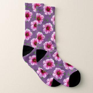 Süße rosa Garten-Blumen auf kundenspezifischer Socken