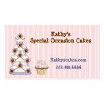 Süße rosa gestreifte Bäckerei-Visitenkarten