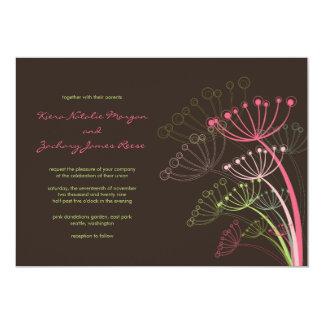 Süße rosa Löwenzahn-Frühlings-Hochzeits-Einladung Karte
