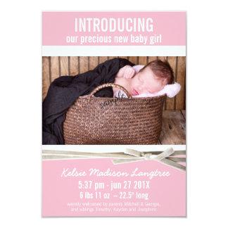 Süße rosa neue Baby-Geburts-Mitteilung 8,9 X 12,7 Cm Einladungskarte
