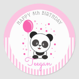 Süsse-rosa Panda-Geburtstag Runder Aufkleber
