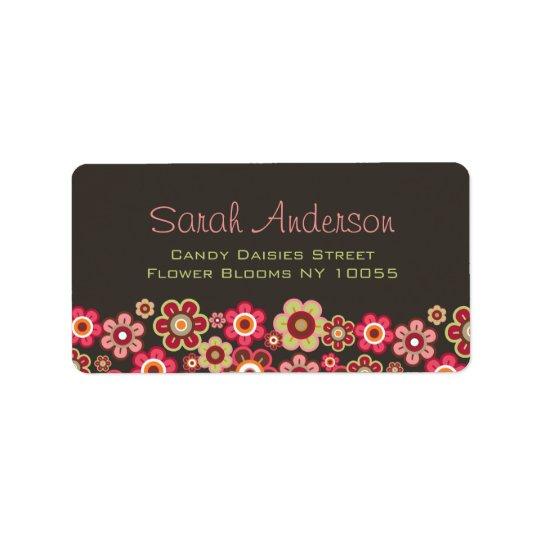 Süße rosa Süßigkeits-Gänseblümchen-Blumen-Girly Adressetikett