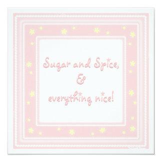 Süße rosa Zucker-u. Gewürz-Babyparty-Einladung Quadratische 13,3 Cm Einladungskarte