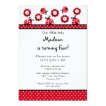 Süße rote Marienkäfer-Geburtstags-Einladung 12,7 X 17,8 Cm Einladungskarte