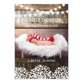 Süße rustikale Land-Baby-Geburts-Mitteilung 12,7 X 17,8 Cm Einladungskarte