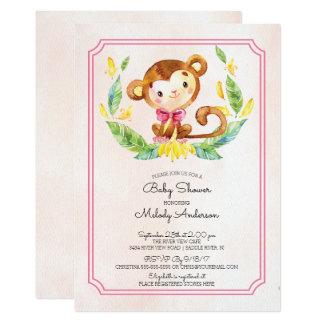 Süße Safari-Affe-Mädchen-Babyparty-Einladung Karte