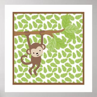 Süße Safari-wenig Affe-Kinderzimmer-Wand-Kunst Poster
