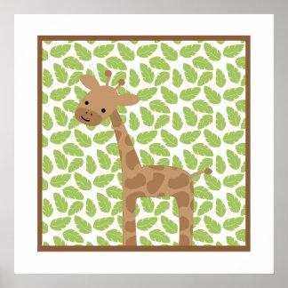 Süße Safari-wenig Giraffen-Kinderzimmer-Wand-Kunst Poster
