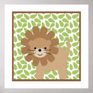 Süße Safari-wenig Löwe-Kinderzimmer-Wand-Kunst Poster