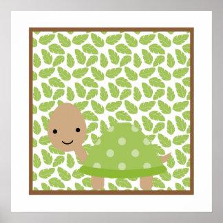Süße Safari-wenig Schildkröte-Kinderzimmer-Wand-Ku Poster