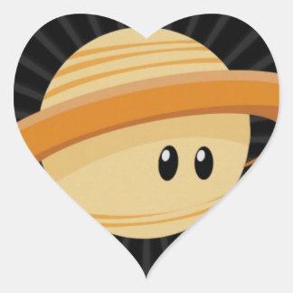 Süsse Saturn Herz-Aufkleber