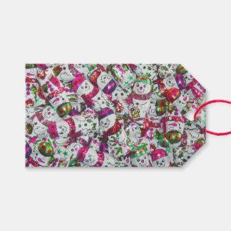 Süße Schneemann-etikettiert rosa Textgeschenk Rosa Geschenkanhänger