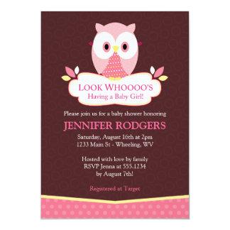 Süße Schrei-Eulen-Babyparty-Einladungen - Rosa 12,7 X 17,8 Cm Einladungskarte