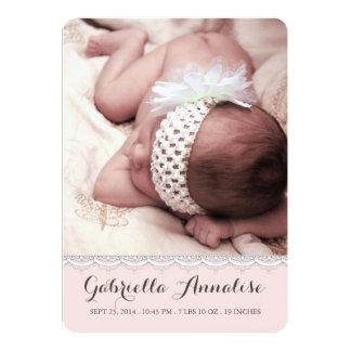 Süße Spitze-Baby-Mädchen-Foto-Geburts-Mitteilung 12,7 X 17,8 Cm Einladungskarte