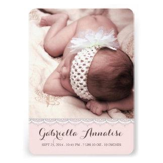 Süße Spitze-Baby-Mädchen-Foto-Geburts-Mitteilung Individuelle Einladungskarte