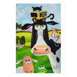 Süße Tiere, die Kuhkatzen-Schaffrosch malen Postkarte