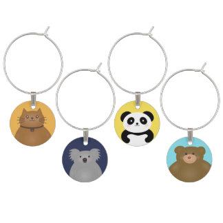 Süße Tiere| Kitty-Katze, Panda, Koala, Teddy-Bär Weinglas Anhänger